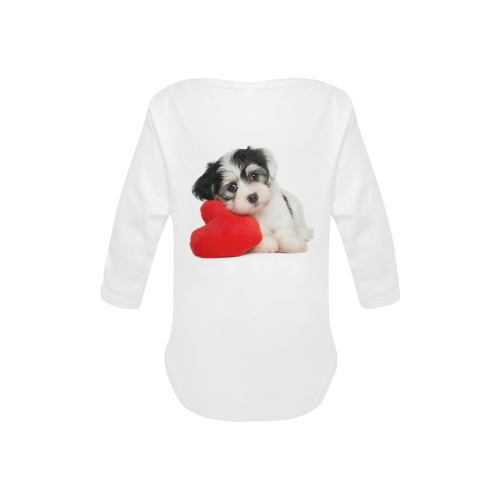 Lover Valentine Havanese puppy with a red heart Baby Powder Organic Long Sleeve One Piece (Model T27)