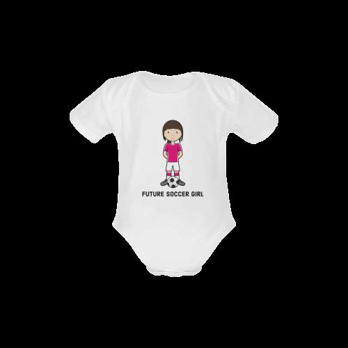 Future Soccer girl - sport player ball Baby Powder Organic Short Sleeve One Piece (Model T28)