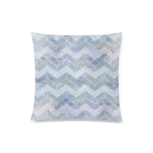 """Chevron in blue watercolors Custom Zippered Pillow Case 20""""x20""""(Twin Sides)"""