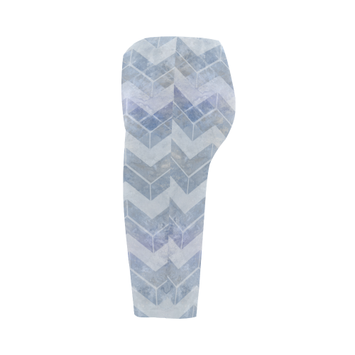 Chevron in blue watercolors Hestia Cropped Leggings (Model L03)