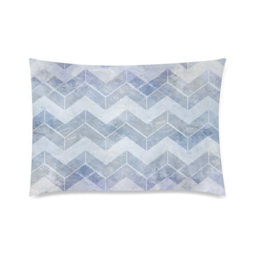 """Chevron in blue watercolors Custom Zippered Pillow Case 20""""x30""""(Twin Sides)"""