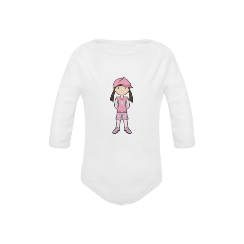 Golf Girl Pink - vintage golfing outfit Baby Powder Organic Long Sleeve One Piece (Model T27)