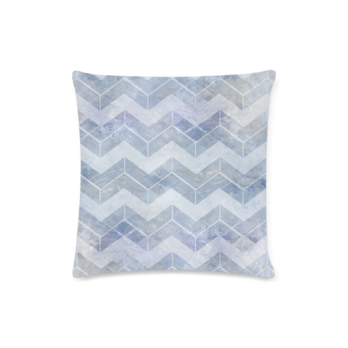 """Chevron in blue watercolors Custom Zippered Pillow Case 16""""x16""""(Twin Sides)"""