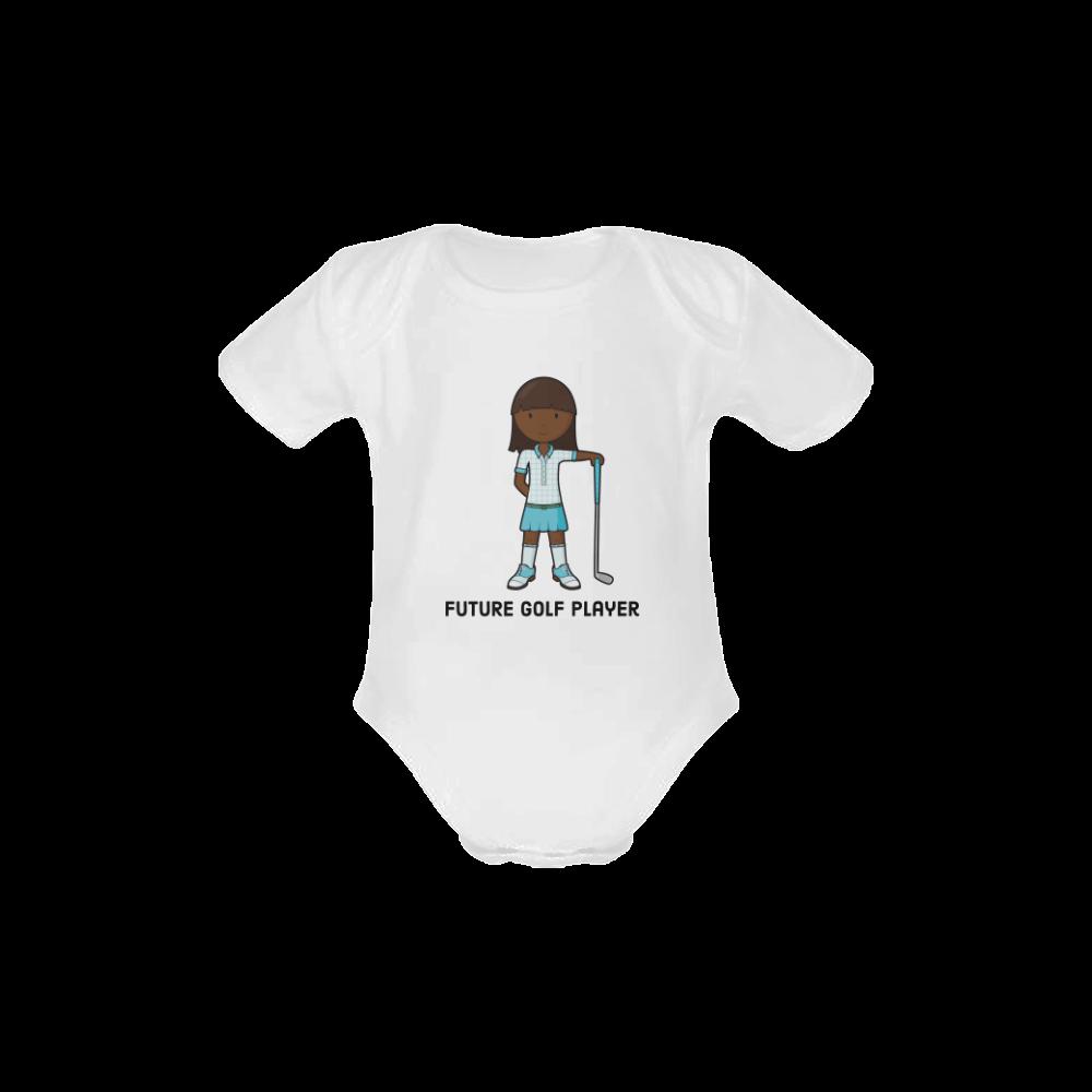 Future Golf Player - girl blue Baby Powder Organic Short Sleeve One Piece (Model T28)
