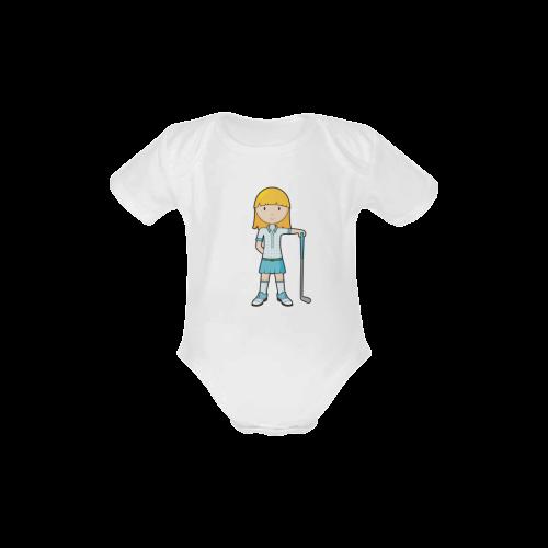 Golf Girl - golfing golf club blue Baby Powder Organic Short Sleeve One Piece (Model T28)