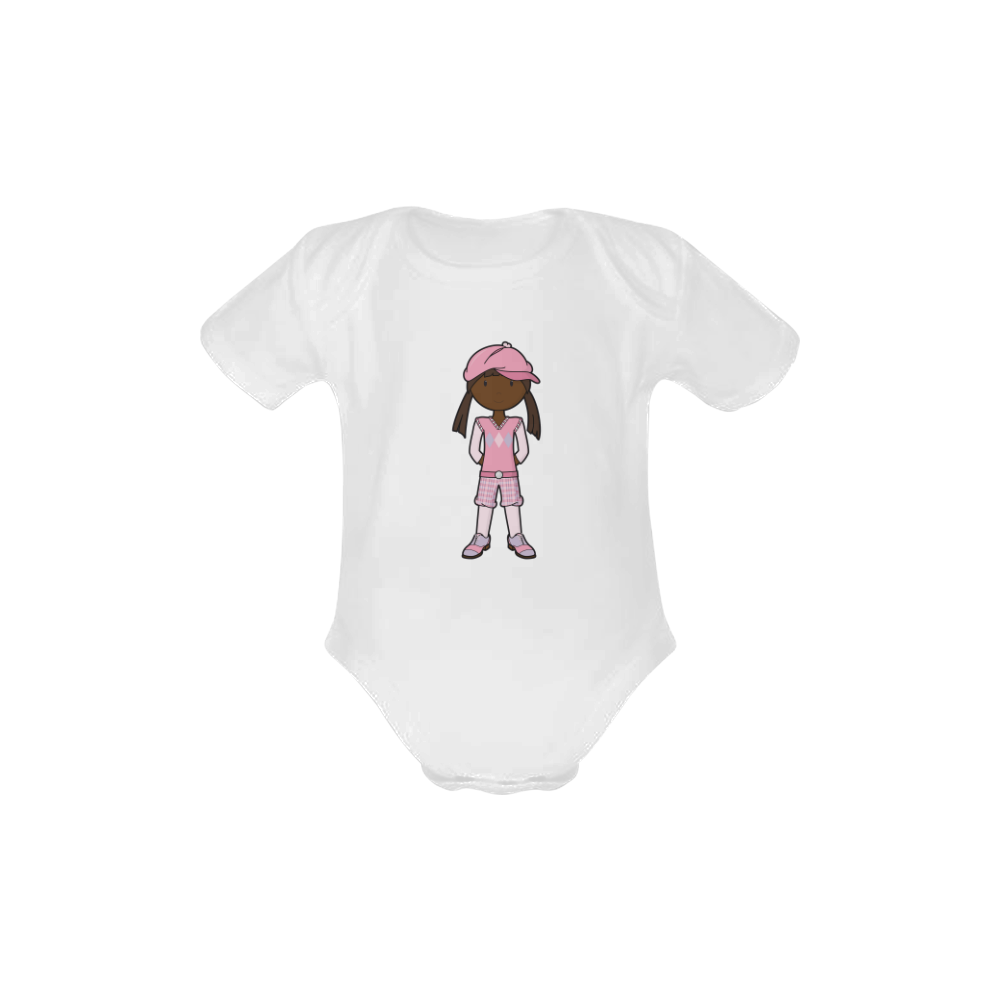 Golf Girl Pink - vintage golf outfit Baby Powder Organic Short Sleeve One Piece (Model T28)