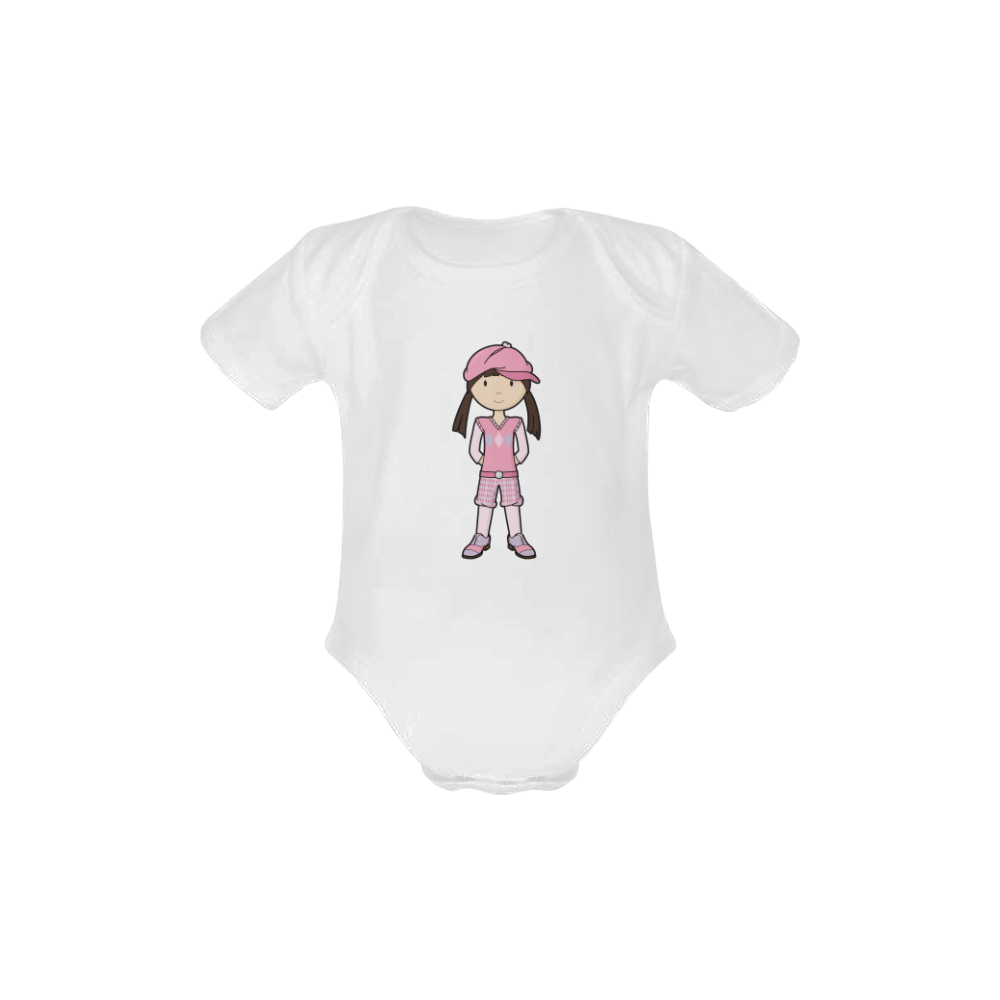 Golf Girl Pink - vintage golfing outfit Baby Powder Organic Short Sleeve One Piece (Model T28)
