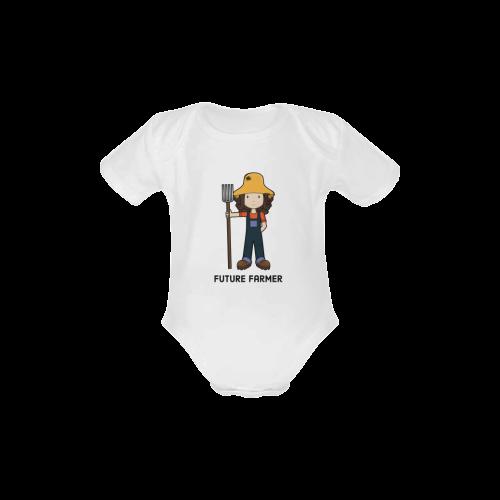 Future Farmer - when I grow up farm girl Baby Powder Organic Short Sleeve One Piece (Model T28)