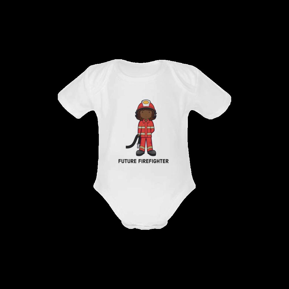 Future Firefighter - girl Baby Powder Organic Short Sleeve One Piece (Model T28)
