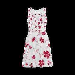 sweet sparkling floral, red Atalanta Sundress (Model D04)