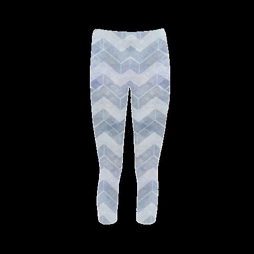 Chevron in blue watercolors Capri Legging (Model L02)