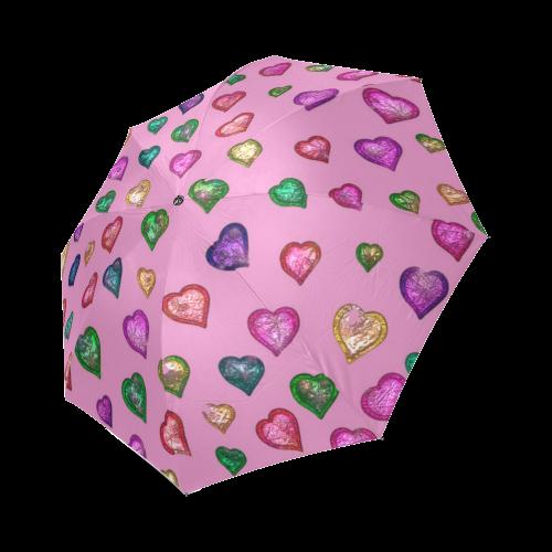 Shimmering hearts Foldable Umbrella (Model U01)