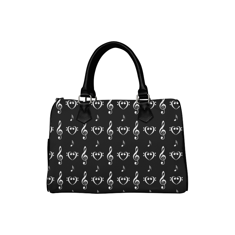 White on Black Musical Boston Handbag (Model 1621)