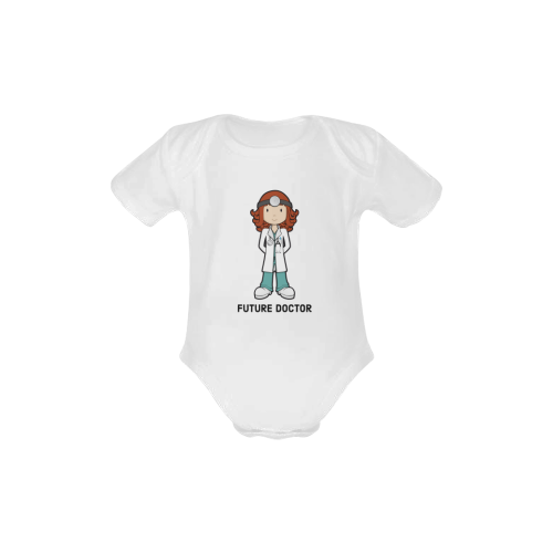 Future doctor - when I grow up- girl medic Baby Powder Organic Short Sleeve One Piece (Model T28)