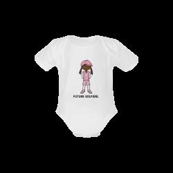 Future Golf Girl - golfer pink Baby Powder Organic Short Sleeve One Piece (Model T28)
