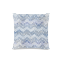 "Chevron in blue watercolors Custom Zippered Pillow Case 20""x20""(Twin Sides)"