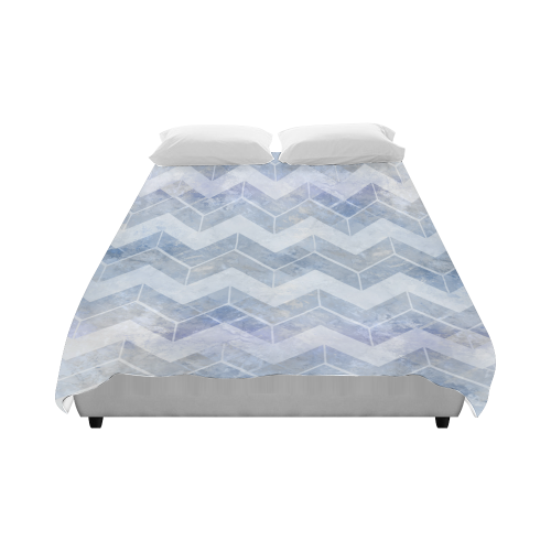 """Chevron in blue watercolors Duvet Cover 86""""x70"""" ( All-over-print)"""