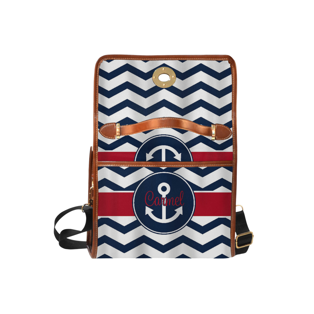 Blue Stripes and Anchor Waterproof Canvas Bag/All Over Print (Model 1641)