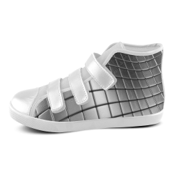 Silver Cubes Velcro High Top Canvas Kid's Shoes (Model 015)