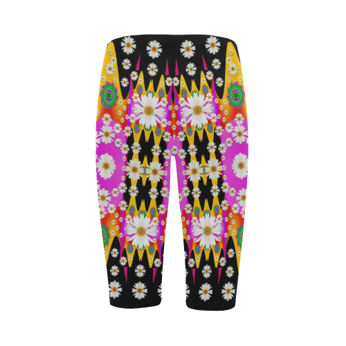 flowers above and under the peaceful sky Hestia Cropped Leggings (Model L03)