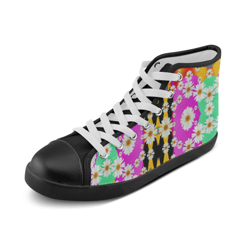 flowers above and under the peaceful sky Women's High Top Canvas Shoes (Model 002)