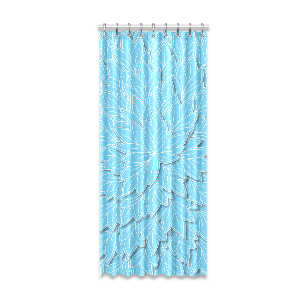 "floating leaf pattern bright blue white Window Curtain 52"" x 120""(One Piece)"