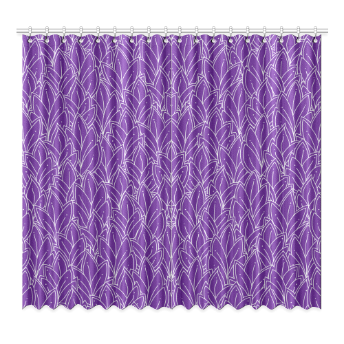 "doodle leaf pattern royal purple white Window Curtain 52""x96""(Two Piece)"