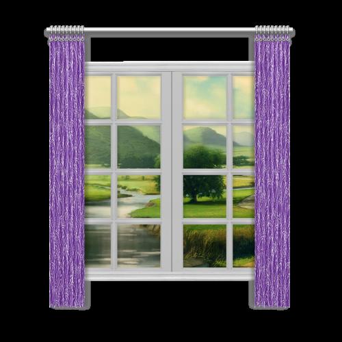 "doodle leaf pattern royal purple white Window Curtain 52""x120""(Two Piece)"