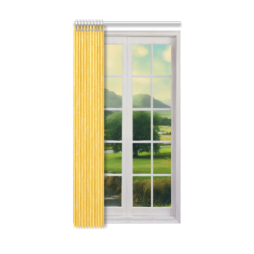"""doodle leaf pattern sunny yellow white Window Curtain 50"""" x 96""""(One Piece)"""