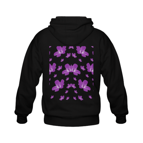 Pretty flowers in purple Gildan Full Zip Hooded Sweatshirt (Model H02)