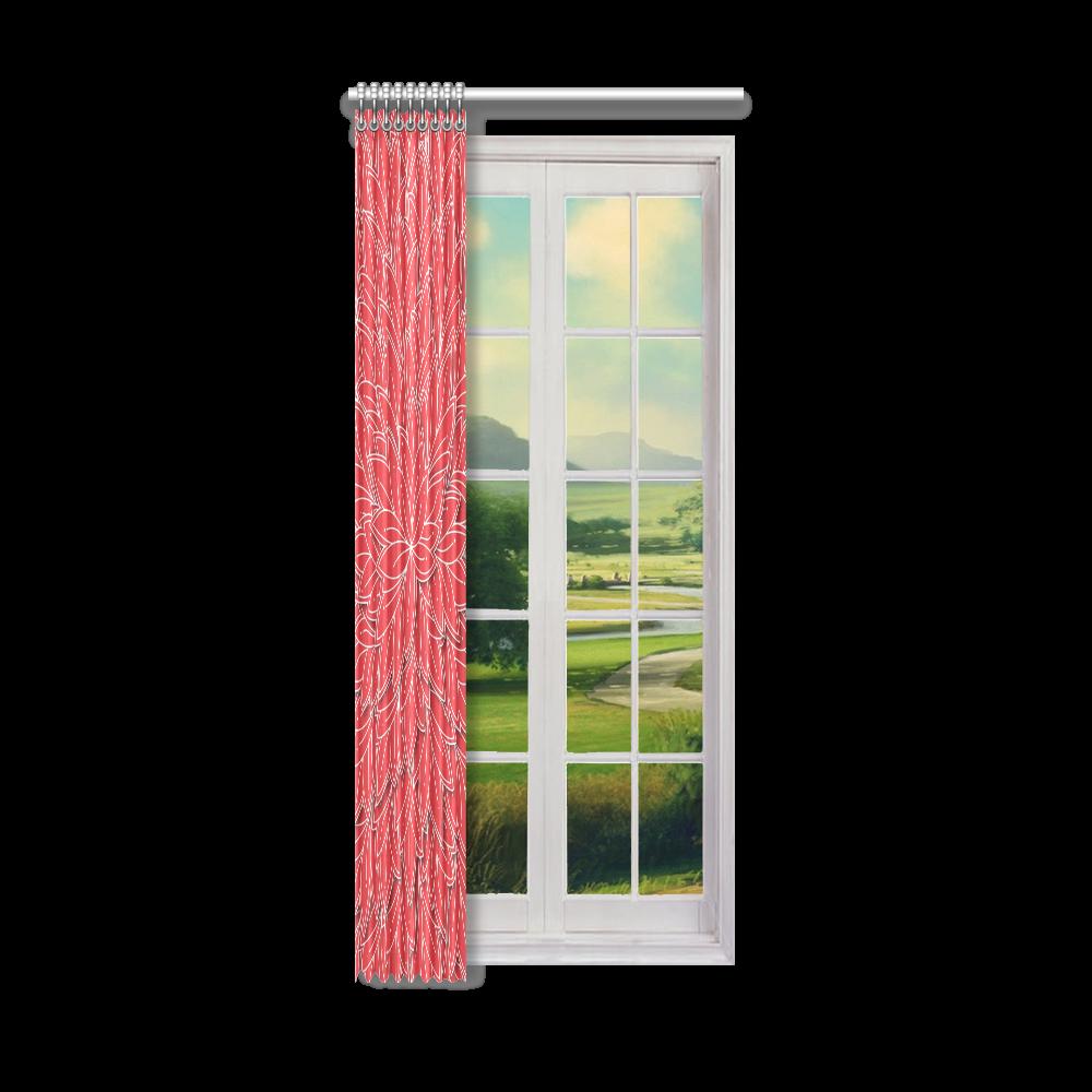 "floating leaf pattern poppy red white Window Curtain 52"" x 120""(One Piece)"