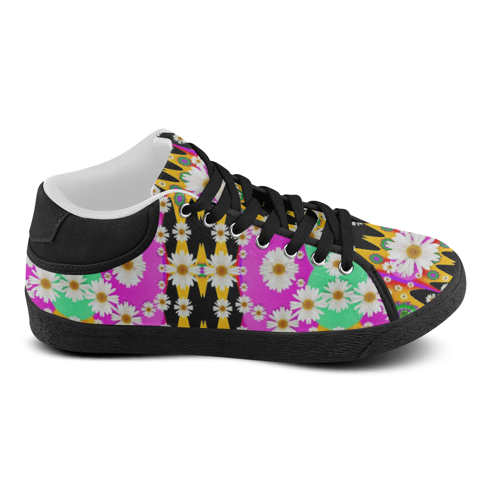 flowers above and under the peaceful sky Women's Chukka Canvas Shoes (Model 003)