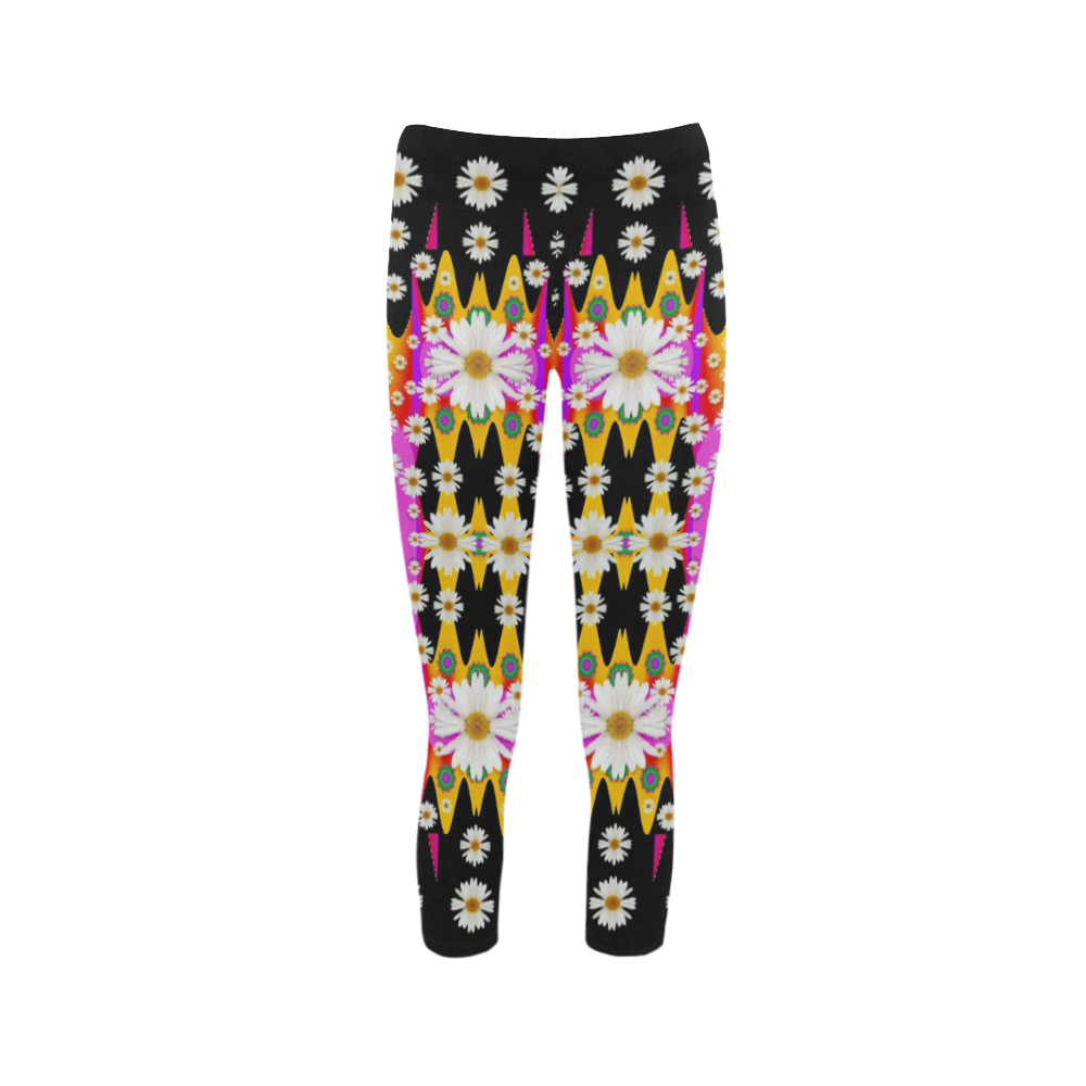 flowers above and under the peaceful sky Capri Legging (Model L02)