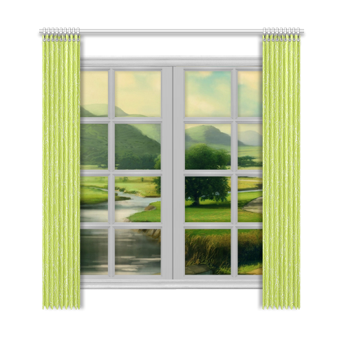 "doodle leaf pattern spring green white nature Window Curtain 50""x108""(Two Piece)"
