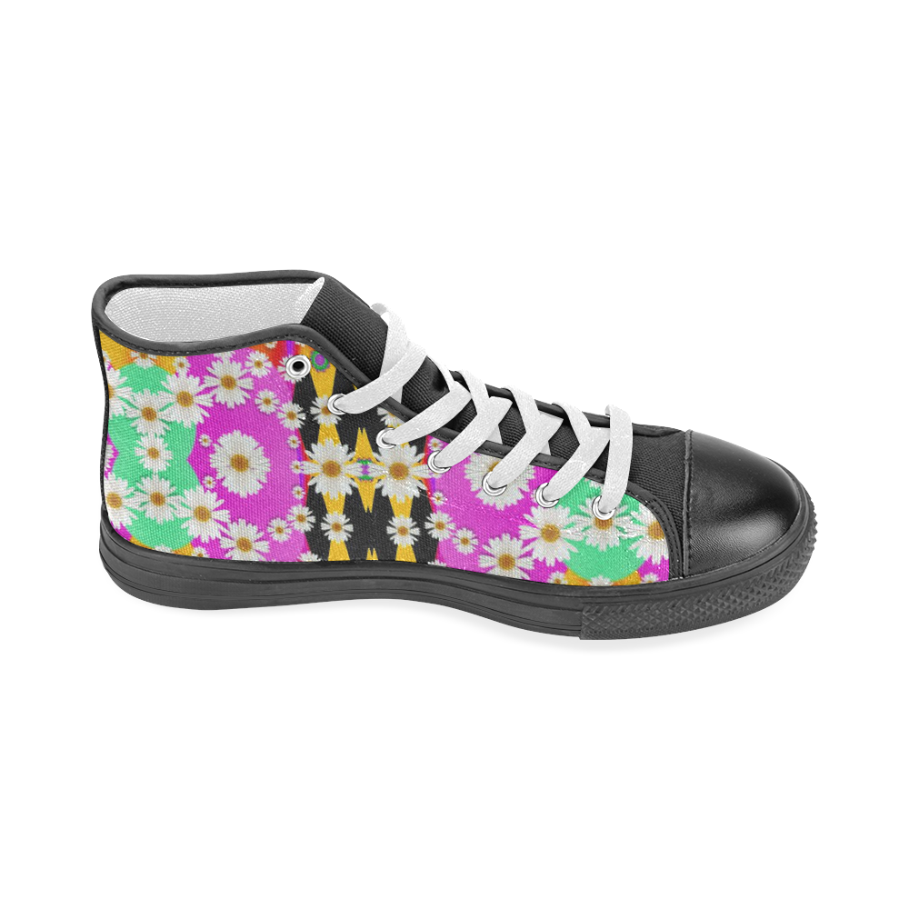 flowers above and under the peaceful sky Men's Classic High Top Canvas Shoes (Model 017)