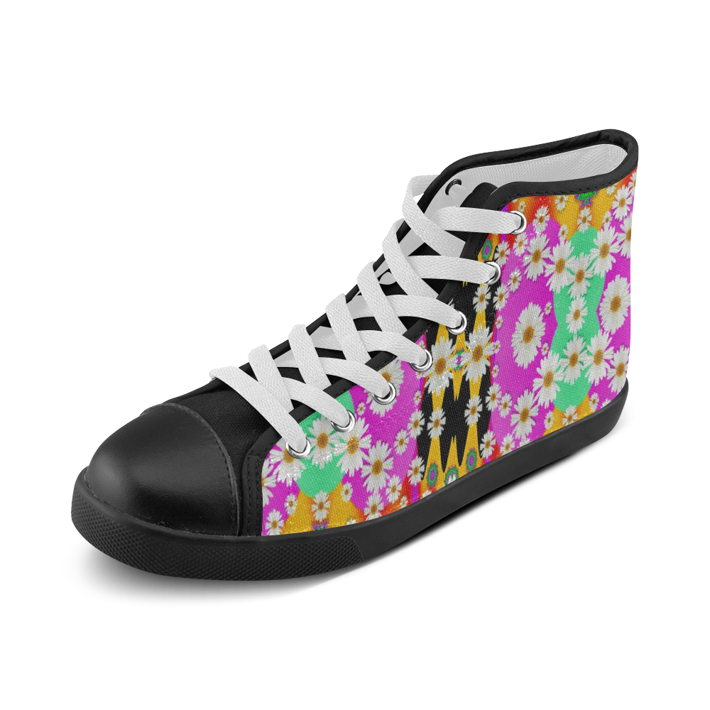 flowers above and under the peaceful sky Men's High Top Canvas Shoes (Model 002)