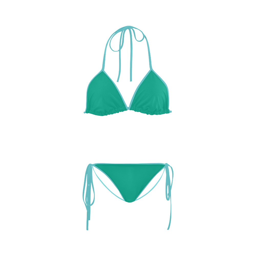 Peacock Green Color Accent Custom Bikini Swimsuit