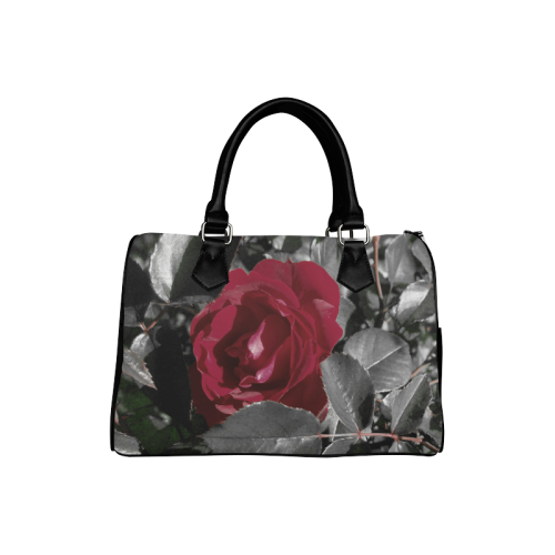 Hued Red Rose Boston Handbag (Model 1621)