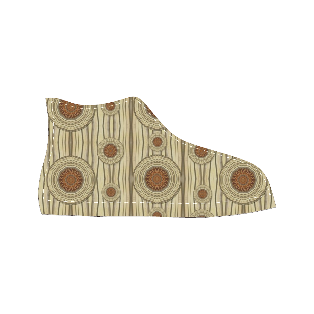 Decorative wood Men's Classic High Top Canvas Shoes (Model 017)