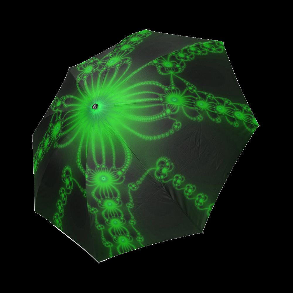 Green Flower Bloom Foldable Umbrella (Model U01)