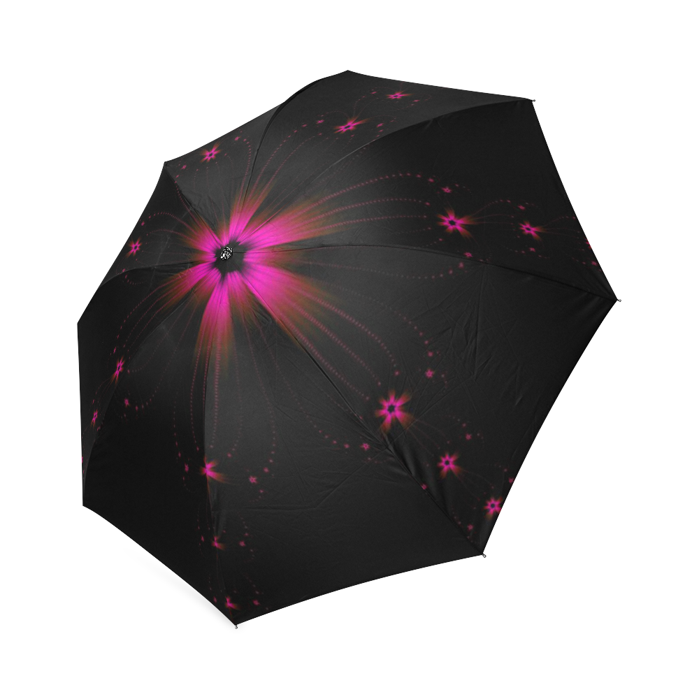 Fuchsia Flower Burst Foldable Umbrella (Model U01)