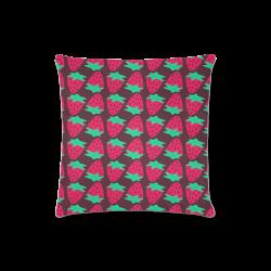 "Strawberry Pattern Custom Zippered Pillow Case 16""x16""(Twin Sides)"