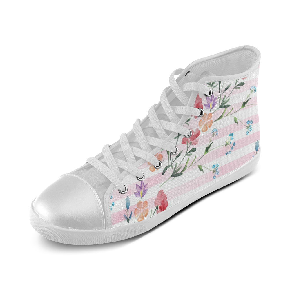 Delicate Wildflowers High Top Canvas Kid's Shoes (Model 002)