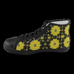 golden decorative flowery rainbow Men's High Top Canvas Shoes (Model 002)