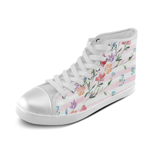 Delicate Wildflowers Women's High Top Canvas Shoes (Model 002)