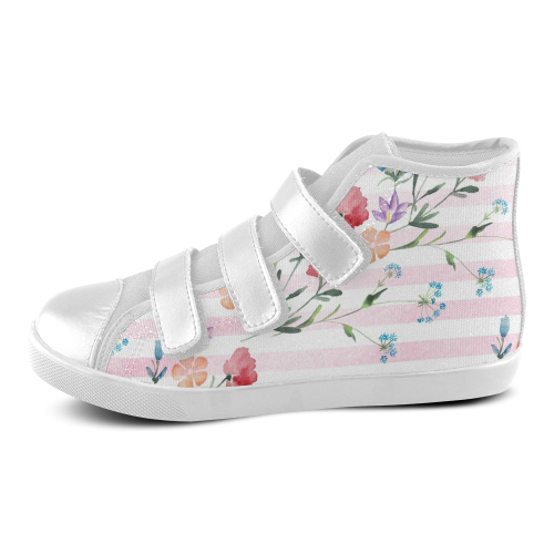 Delicate Wildflowers Velcro High Top Canvas Kid's Shoes (Model 015)