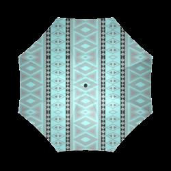 tribal border pattern  vertical, aqua Foldable Umbrella (Model U01)