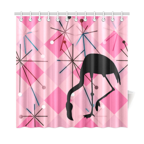 Midcentury Modern Atomic Starburst Vintage Retro Flamingo Pink Shower Curtain