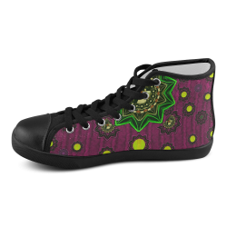 Among stars a dove a fender in peace and leather Men's High Top Canvas Shoes (Model 002)