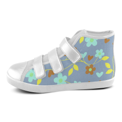 lovely floral 416E Velcro High Top Canvas Kid's Shoes (Model 015)